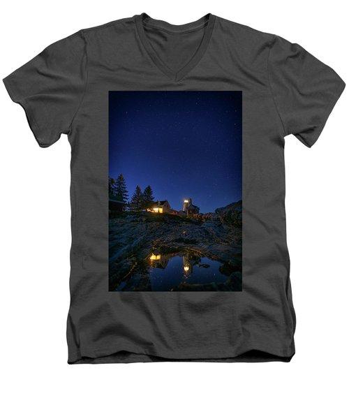 Under The Stars At Pemaquid Point Men's V-Neck T-Shirt by Rick Berk