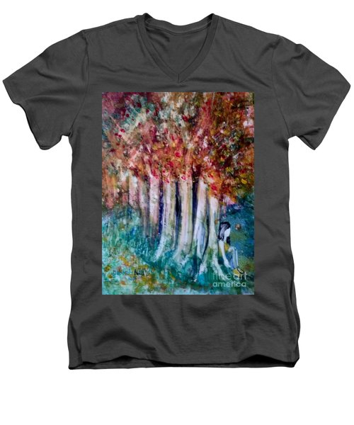 Men's V-Neck T-Shirt featuring the painting Under The Trees by Deborah Nell
