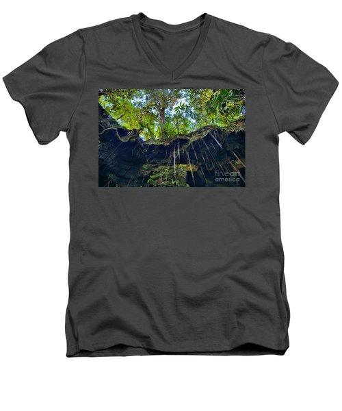 Men's V-Neck T-Shirt featuring the photograph Underground by DJ Florek