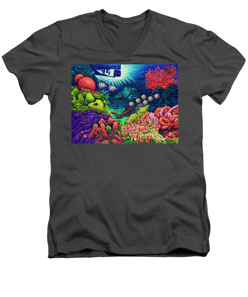 Undersea Creatures Vii Men's V-Neck T-Shirt by Michael Frank