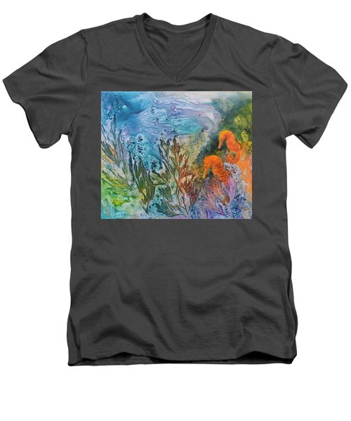 Undersea Garden Men's V-Neck T-Shirt by Nancy Jolley
