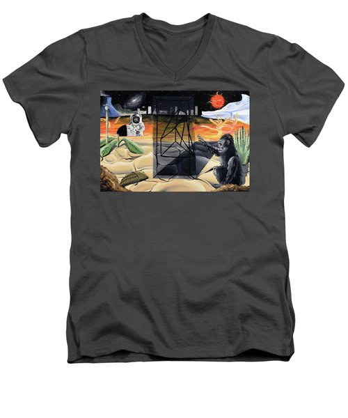 Men's V-Neck T-Shirt featuring the painting Understanding Time by Ryan Demaree