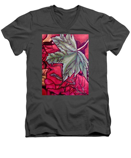 Understudy Of A Fallen Green Maple Leaf In The Fall Men's V-Neck T-Shirt by Kimberlee Baxter