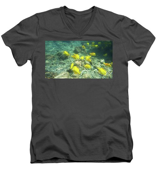 Underwater Yellow Tang Men's V-Neck T-Shirt
