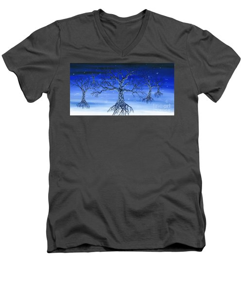 Men's V-Neck T-Shirt featuring the painting Underworld by Kenneth Clarke