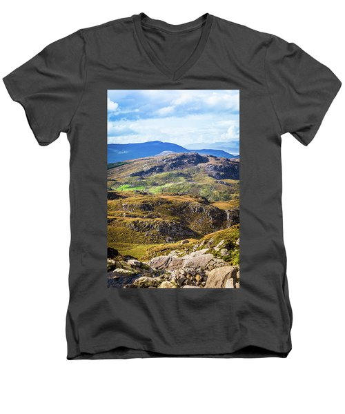 Men's V-Neck T-Shirt featuring the photograph Undulating Green, Purple And Yellow Rocky Landscape In  Ireland by Semmick Photo