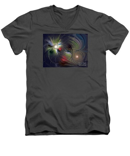 Men's V-Neck T-Shirt featuring the digital art Unfading by Karin Kuhlmann