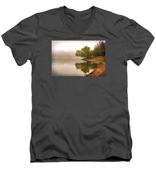 Unger Park Lake At Dawn Men's V-Neck T-Shirt by Robert FERD Frank