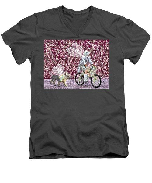 Unicorn And Doggie Fairies Men's V-Neck T-Shirt