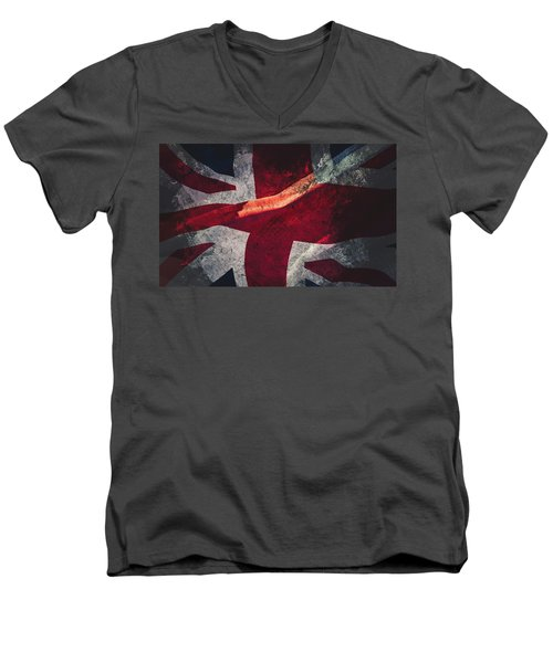 Union Jack Fine Art, Abstract Vision Of Great Britain Flag Men's V-Neck T-Shirt