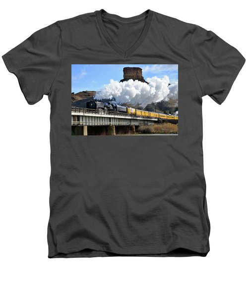 Union Pacific Steam Engine 844 And Castle Rock Men's V-Neck T-Shirt by Eric Nielsen
