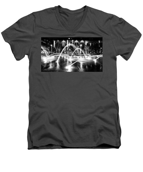 Men's V-Neck T-Shirt featuring the photograph Union Station Fountains by Stephen Holst