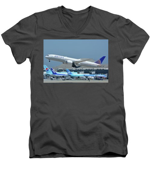 Men's V-Neck T-Shirt featuring the photograph United Boeing 787-9 N27965 Los Angeles International Airport May 3 2016 by Brian Lockett