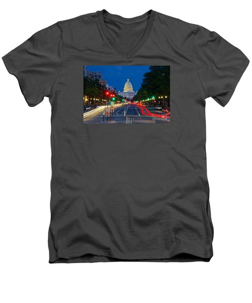 United States Capitol Along Pennsylvania Avenue In Washington, D.c.   Men's V-Neck T-Shirt