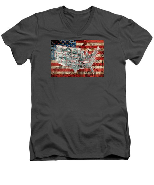 United States Drawing Collage Map 6 Men's V-Neck T-Shirt