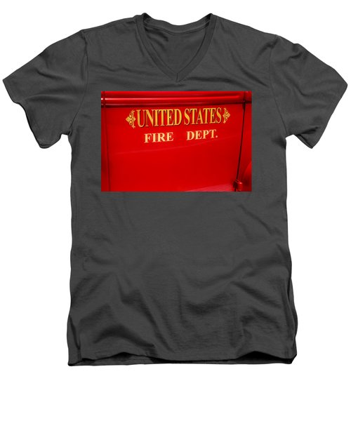 United States Fire Department Engine Men's V-Neck T-Shirt by Toni Hopper