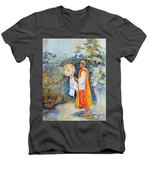 Men's V-Neck T-Shirt featuring the painting Unity by Mary Haley-Rocks