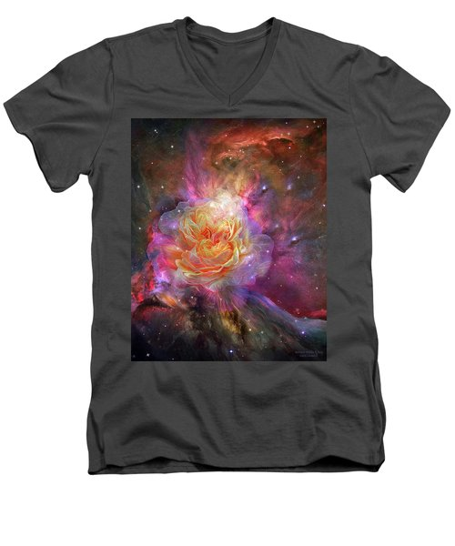 Men's V-Neck T-Shirt featuring the mixed media Universe Within A Rose by Carol Cavalaris