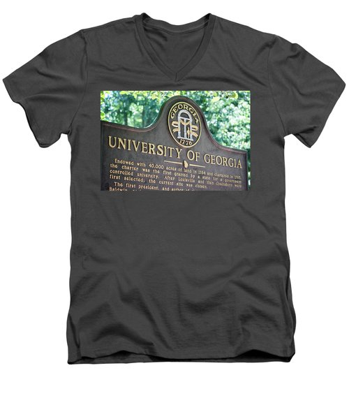 Men's V-Neck T-Shirt featuring the photograph University Of Georgia Sign by Parker Cunningham