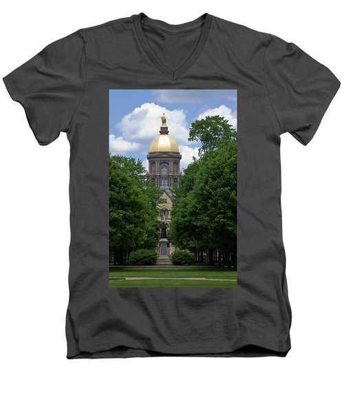 University Of Notre Dame Golden Dome Men's V-Neck T-Shirt by Sally Weigand