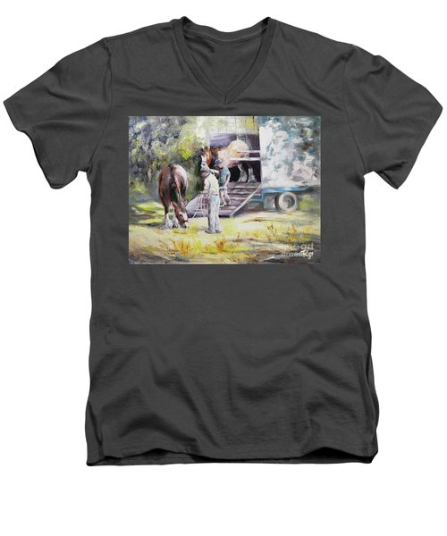 Men's V-Neck T-Shirt featuring the painting Unloading The Clydesdales by Ryn Shell