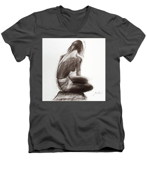 Men's V-Neck T-Shirt featuring the painting Until The Sea Shall Free Them by Jarko Aka Lui Grande