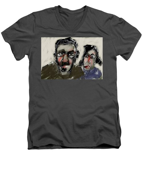 Men's V-Neck T-Shirt featuring the painting Untitled 21nov2016 by Jim Vance