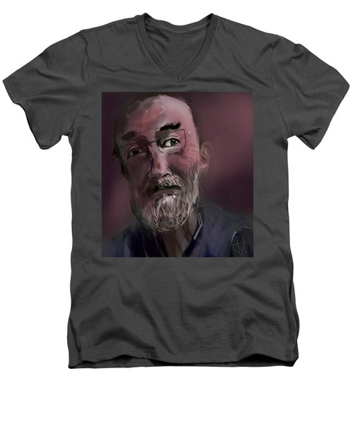 Men's V-Neck T-Shirt featuring the painting Untitled - 26nov2016 by Jim Vance