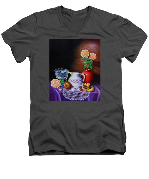 Men's V-Neck T-Shirt featuring the painting Nostalgic Vision by Gene Gregory