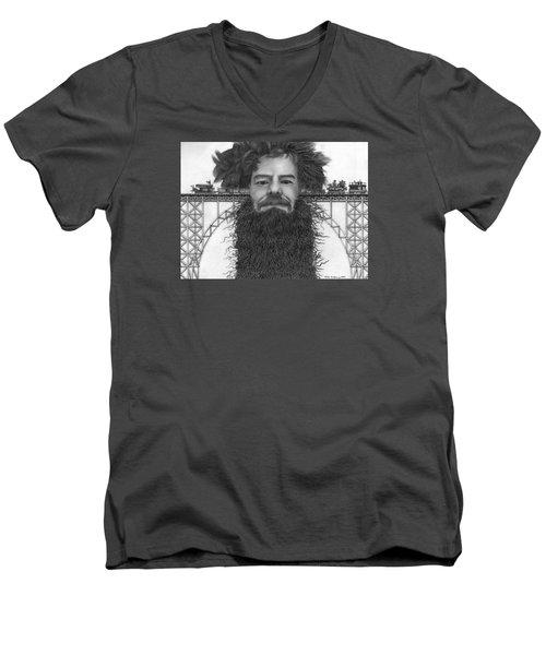 Men's V-Neck T-Shirt featuring the painting Train Of Thoughts by Richie Montgomery