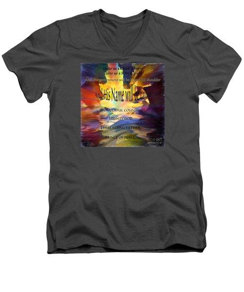 Unto Us Men's V-Neck T-Shirt by Margie Chapman