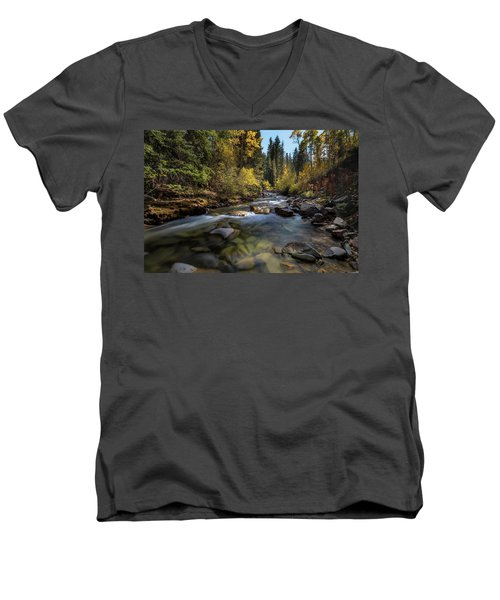 Up A Colorado Creek Men's V-Neck T-Shirt