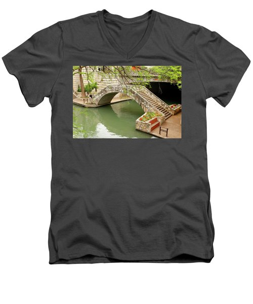 Men's V-Neck T-Shirt featuring the photograph Up And Over - San Antonio River Walk by Art Block Collections