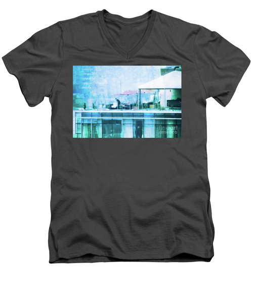 Men's V-Neck T-Shirt featuring the digital art Up On The Roof - II by Mary Machare