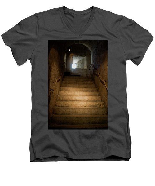 Men's V-Neck T-Shirt featuring the photograph Up The Ancient Stairs by Lorraine Devon Wilke
