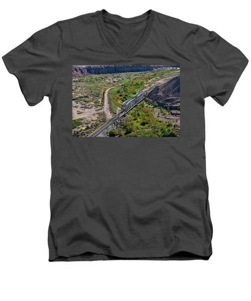 Men's V-Neck T-Shirt featuring the photograph Up Tracks Cross The Mojave River by Jim Thompson
