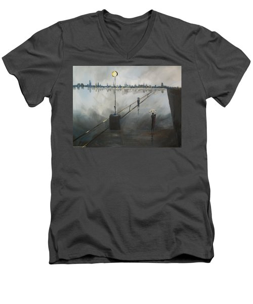 Upon The Boardwalk Men's V-Neck T-Shirt by Raymond Doward