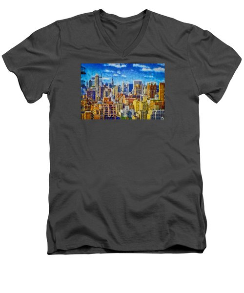 Upper Eastside Skyline Men's V-Neck T-Shirt by Kai Saarto