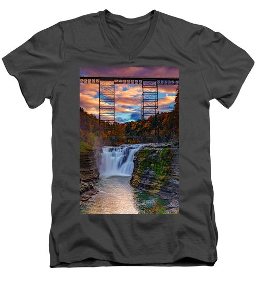 Upper Falls Letchworth State Park Men's V-Neck T-Shirt