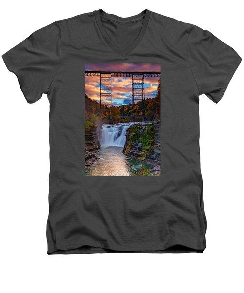 Upper Falls Letchworth State Park Men's V-Neck T-Shirt