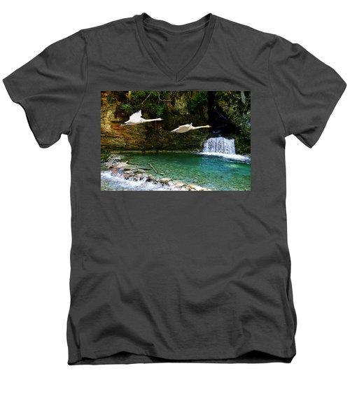 Upper Margaret Falls Men's V-Neck T-Shirt by Ed Hall