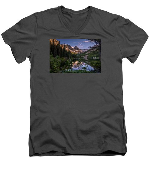 Upper Slate Lake Evening Glow Men's V-Neck T-Shirt