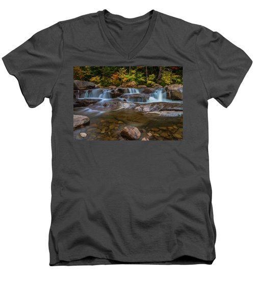 Men's V-Neck T-Shirt featuring the photograph Upper Swift River Falls In White Mountains New Hampshire by Ranjay Mitra