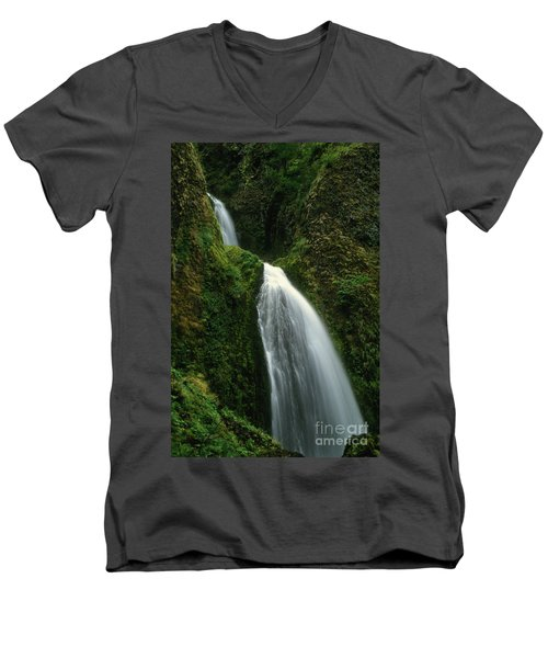 Upper Wahkeena Falls Men's V-Neck T-Shirt