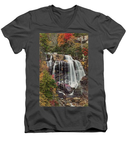 Men's V-Neck T-Shirt featuring the photograph Upper Whitewater Falls North Carolina by Bellesouth Studio