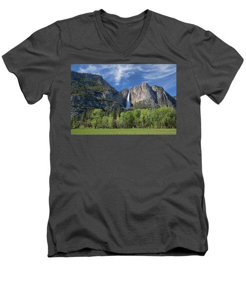 Upper Yosemite Falls In Spring Men's V-Neck T-Shirt