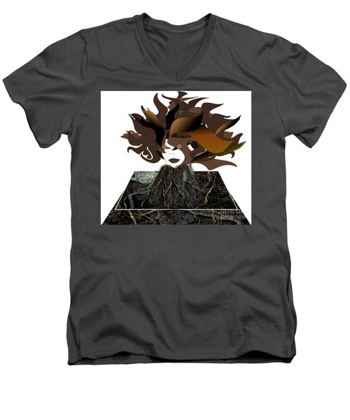 Uprooted Men's V-Neck T-Shirt by Belinda Threeths