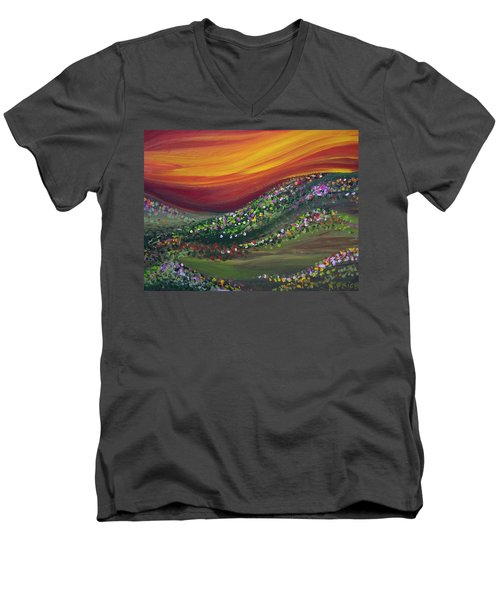 Men's V-Neck T-Shirt featuring the painting Ups And Downs by Ashley Price