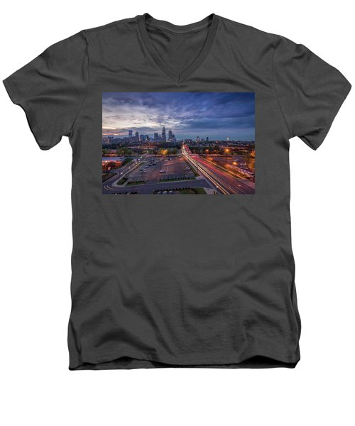 Uptown Charlotte Rush Hour Men's V-Neck T-Shirt by Serge Skiba