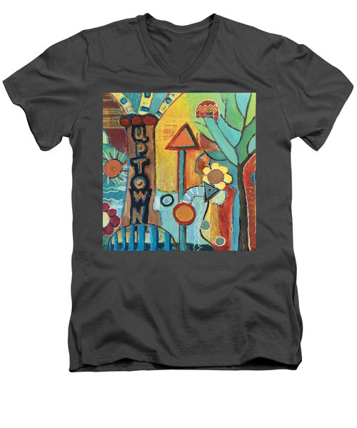 Uptown Dream World Men's V-Neck T-Shirt by Susan Stone
